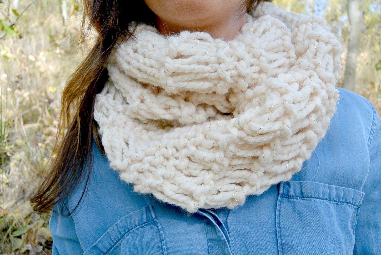 Chunky Easy Knit Infinity Scarf Free Pattern   Knitting   Pinterest ...