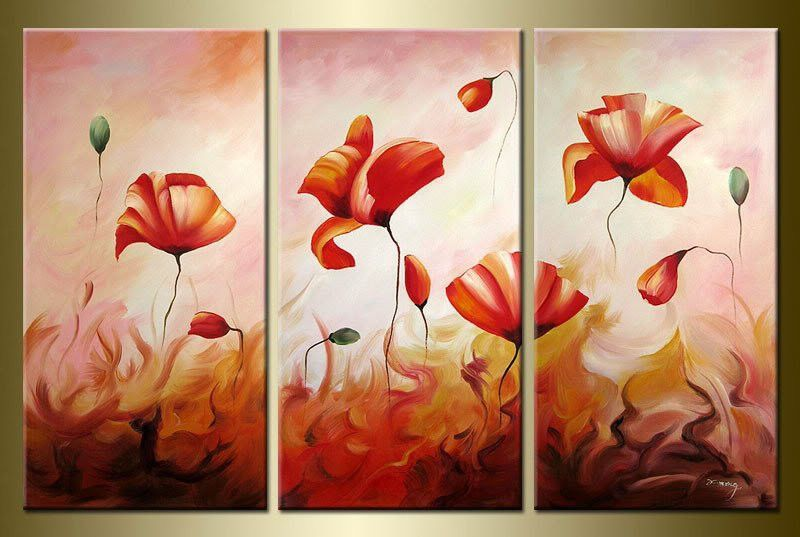 Floral Wall Art Picture Yellow Cream Brown Abstract Flower Canvas Print 4 Panels