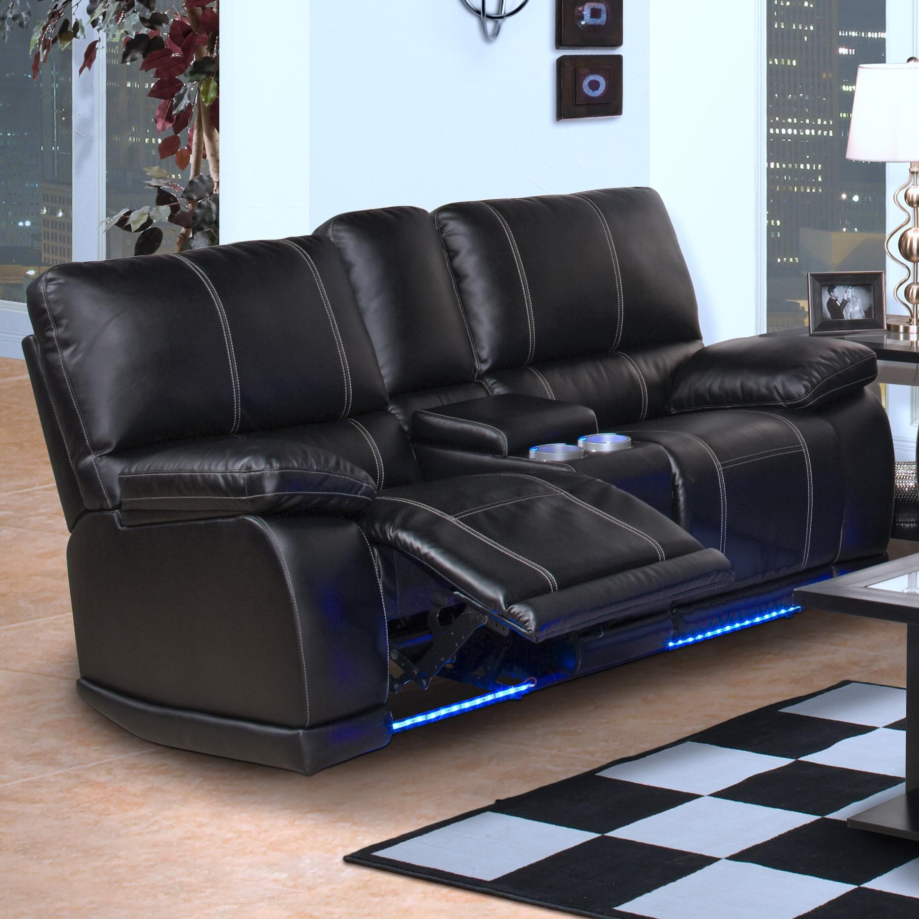 Electra Dual Recliner Console Loveseat By New Classic · Black Reclining  SofaLeather ...