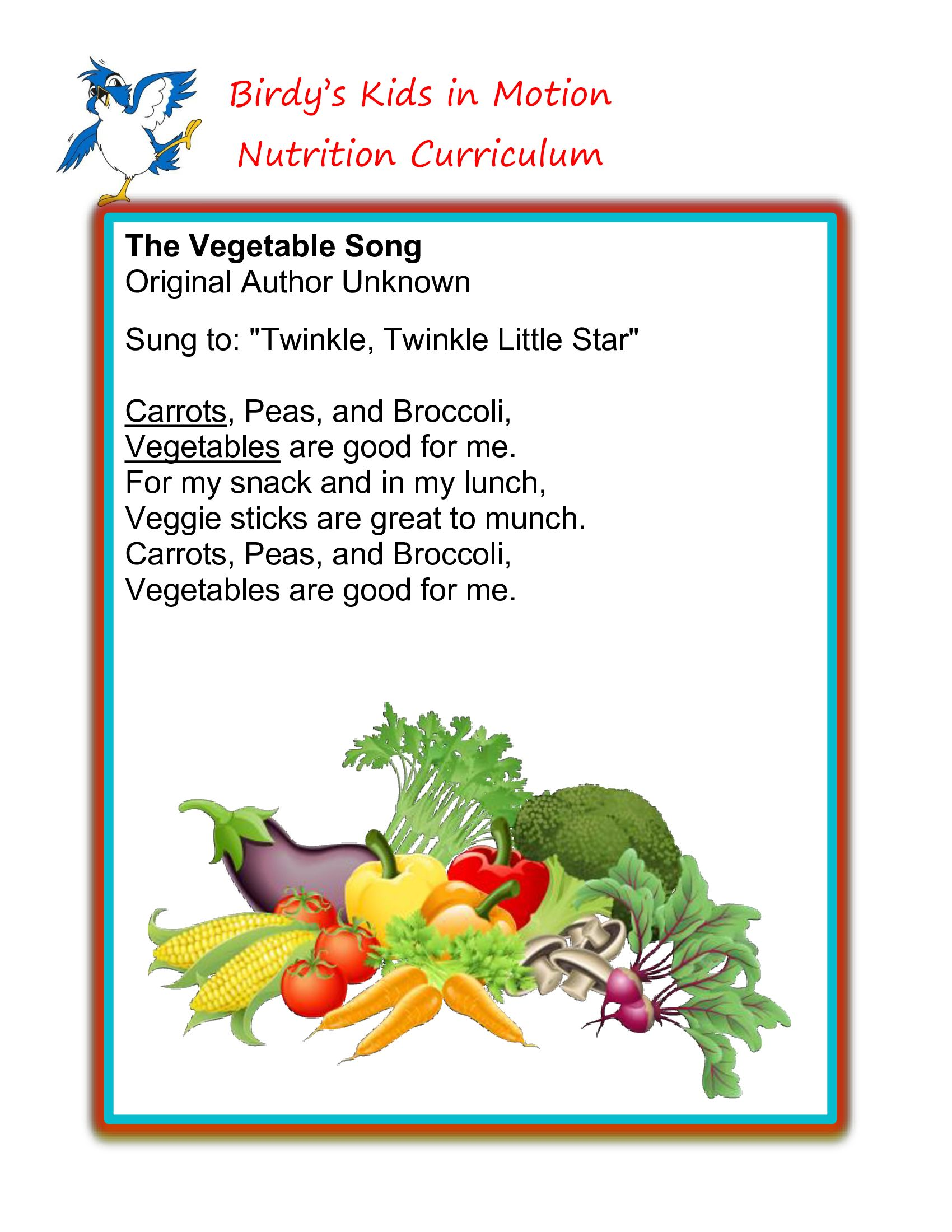 food songs for preschoolers quot the vegetable song quot birdyskidsinmotion nutrition 595