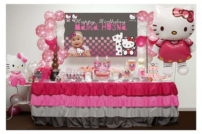 Pink Grey Hello Kitty Birthday Party Ideas Decor Idea Cake