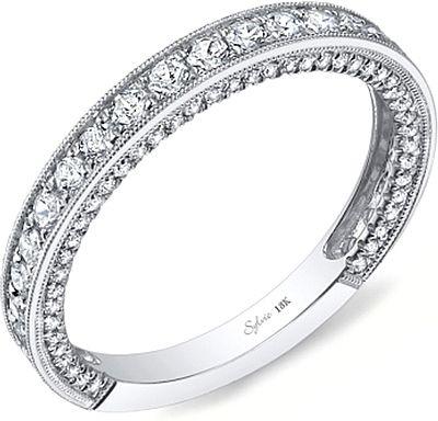 Sylvie Pave Milgrain Diamond Wedding Band Diamond Wedding Bands Pave Diamond Wedding Bands Beautiful Wedding Rings