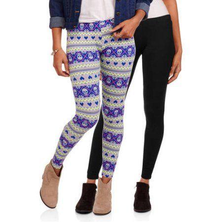 8d7665ccc9633 No Boundaries Juniors' Essential Ankle Leggings, 2-Pack Value Bundle -  Walmart.com Colors: Skull Print or Black Aztec Size Large