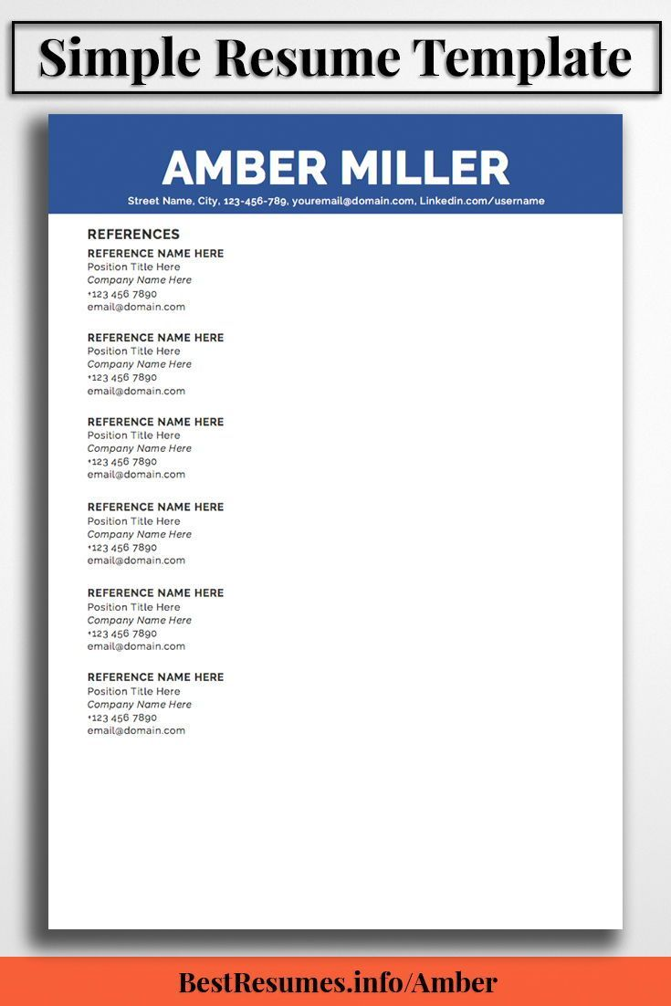Great Resume Templates For Microsoft Word Resume Template Amber Miller  Pinterest  Simple Resume Template .