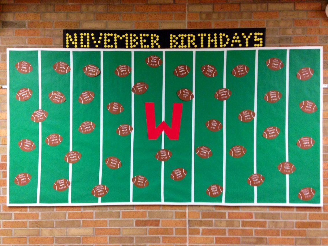 November Birthday Bulletin Board Footballs Birthday