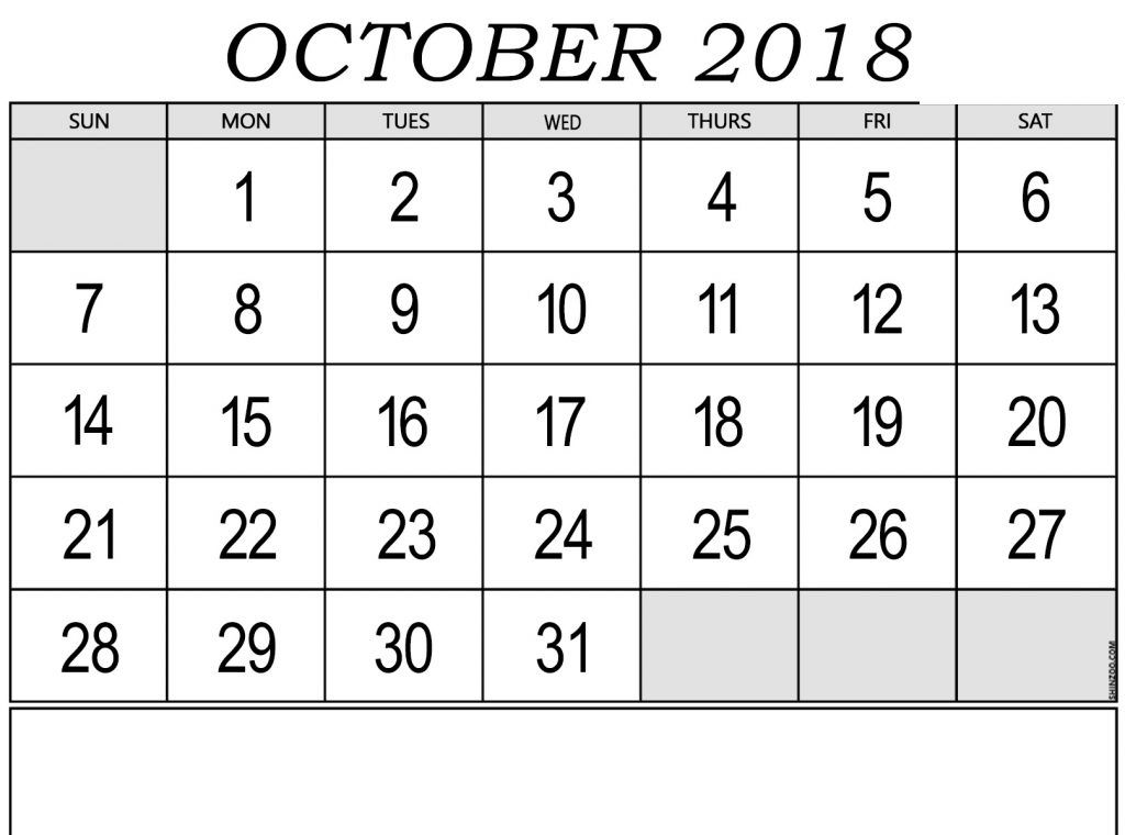 Printable October 2018 Calendar Pdf Free October 2018 Calendar