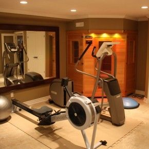 traditional home gym in the basement from getitcut in