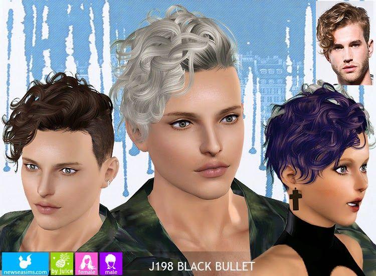 My Sims 3 Blog Newsea Black Bullet Hair For Males Females Sims Hair Sims 4 Hair Male Sims 4 Curly Hair