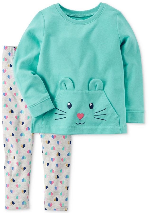 901ee8d3460 Carter's 2-Pc. Cat Face Cotton Tunic & Leggings Set, Toddler Girls (2T-5T)