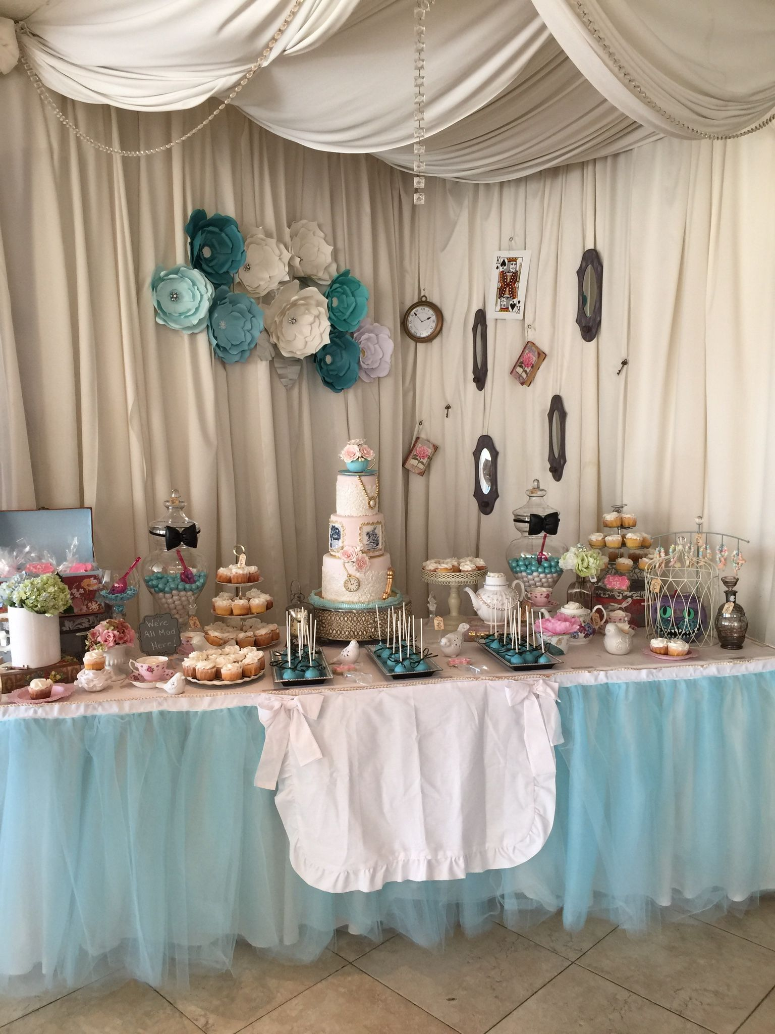 This was the vintage Alice in wonderland first birthday sweets table