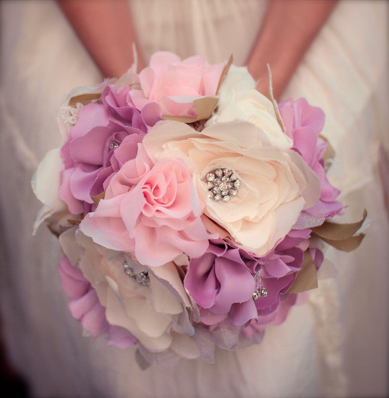 Unique Wedding Bouquets | Unique Bridal Bouquet - Large Fabric Bouquet, Vintage Wedding, Boho ...