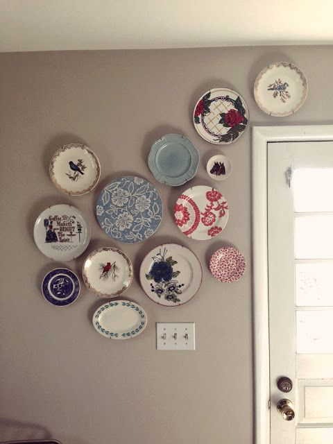 Kind of cautiously liking the plate wall idea.