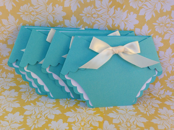 25 Tiffany Blue Baby Shower Diaper Invitation - announcement - diaper invitation