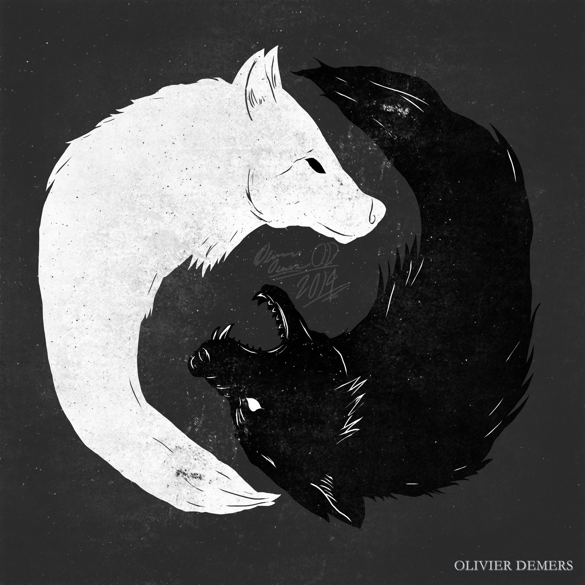 Artstation Feed The Wolves Olivier Demers Two Wolves Tattoo Geometric Wolf Wolf Illustration