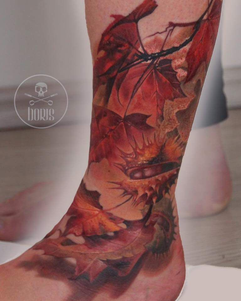 Fall Henna Designs: Abstract Fall Leaves Tattoo By @borristattoo
