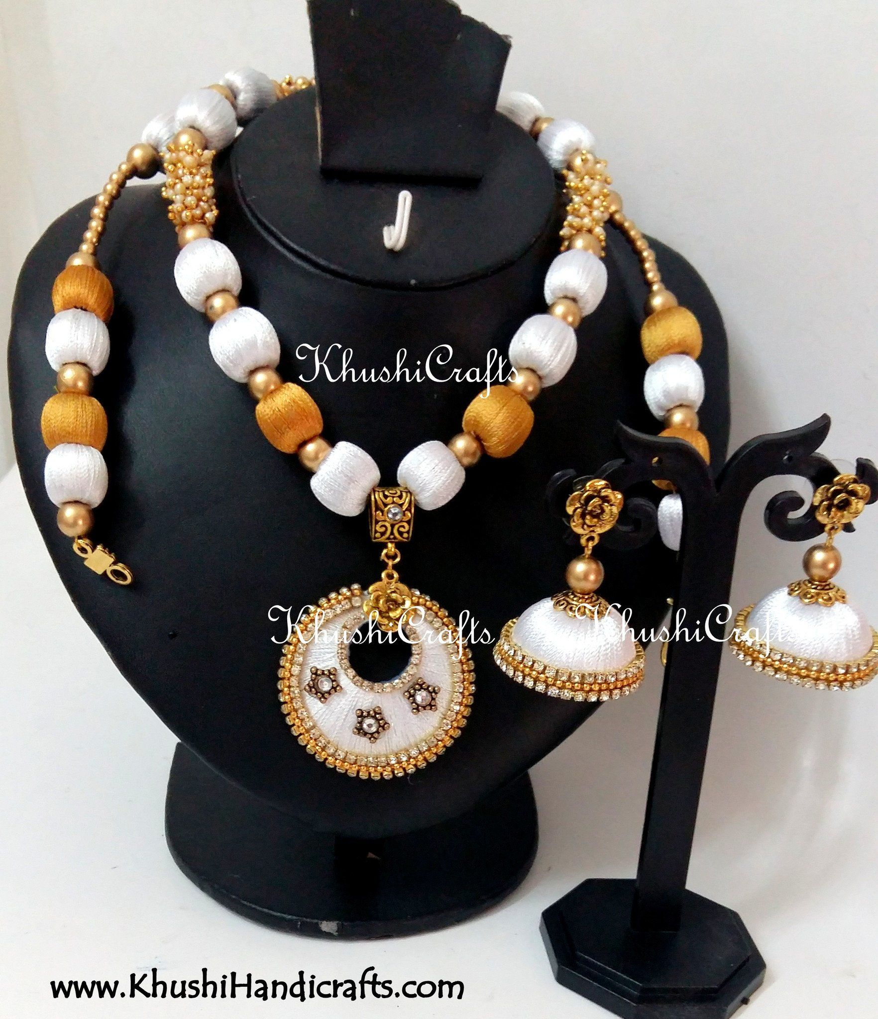 cf6317095 White and Gold Silk Thread Bridal Necklace set Silk Thread Necklace, Thread  Jewellery, Handmade