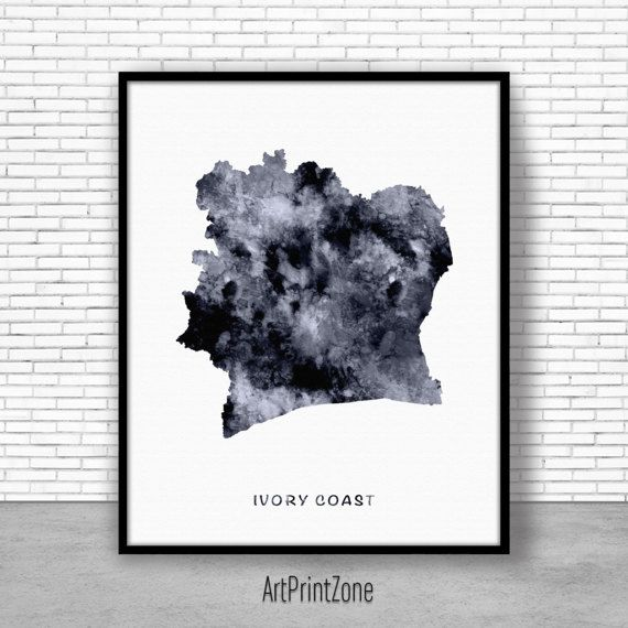Ivory Coast Print Watercolor Map Office Wall Decor Living Room