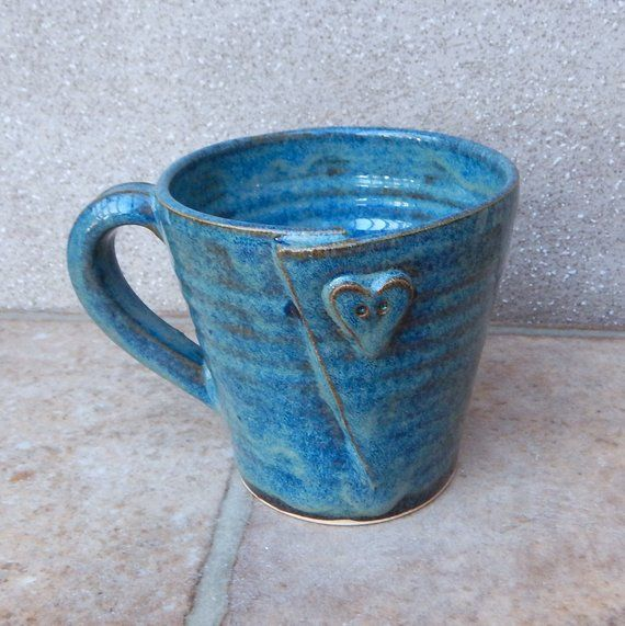 Coffee mug tea cup with a button hand thrown stoneware handmade pottery wheelthrown ceramic #slabpottery