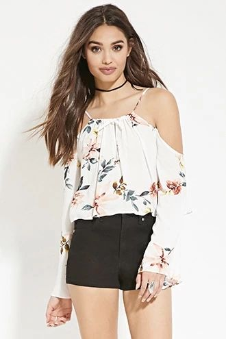 f0b4d66d1ccf7b Floral Open-Shoulder Top