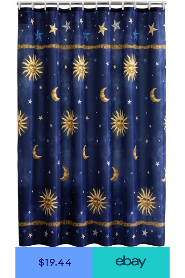 Shower Curtain Blue Celestial Sun Moon Stars Fabric Bathroom Decor