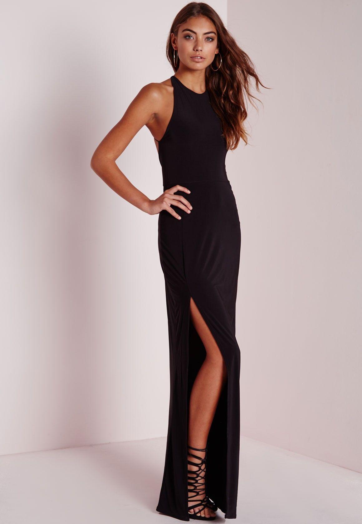 Black dress goals - Petite Slinky Side Split Maxi Dress Black Petite Petite Dresses Missguided