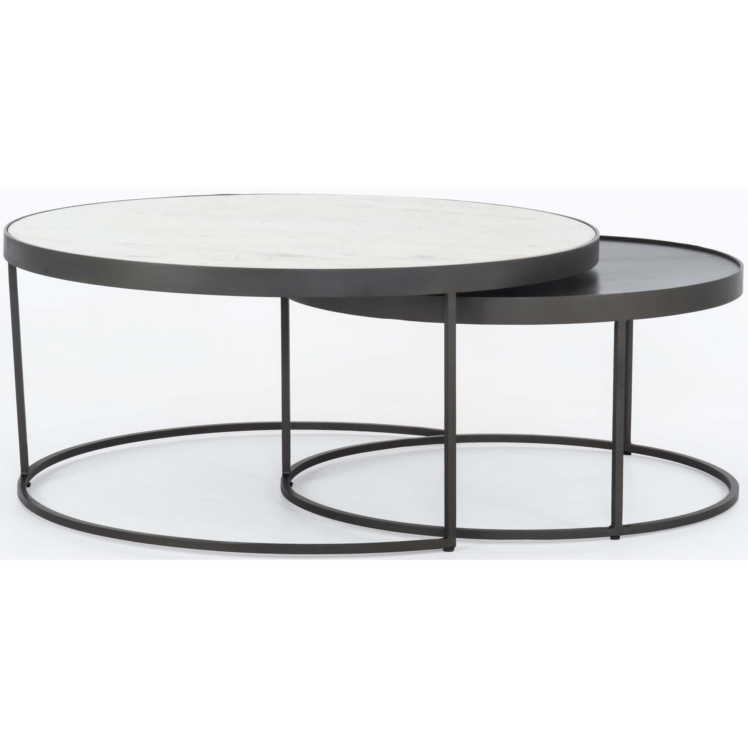 Evelyn Round Nesting Coffee Table In 2020 Nesting Coffee Tables Round Nesting Coffee Tables Coffee Table Metal Frame