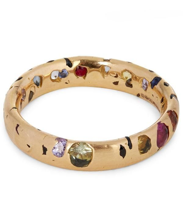 2d8a7d662b609 Polly Wales Rose Gold Rainbow Sapphire Confetti Ring | Bejeweled in ...