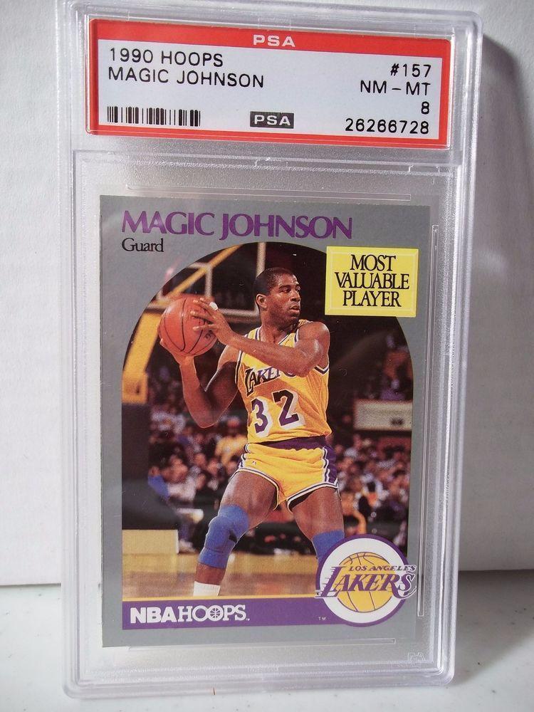 1990 hoops magic johnson psa nmmt 8 basketball card 157