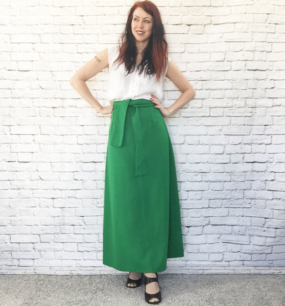 Vintage 60s Belted Green Maxi Skirt M Christmas Elf St. Patrick's Day Costume Party by PopFizzVintage on Etsy