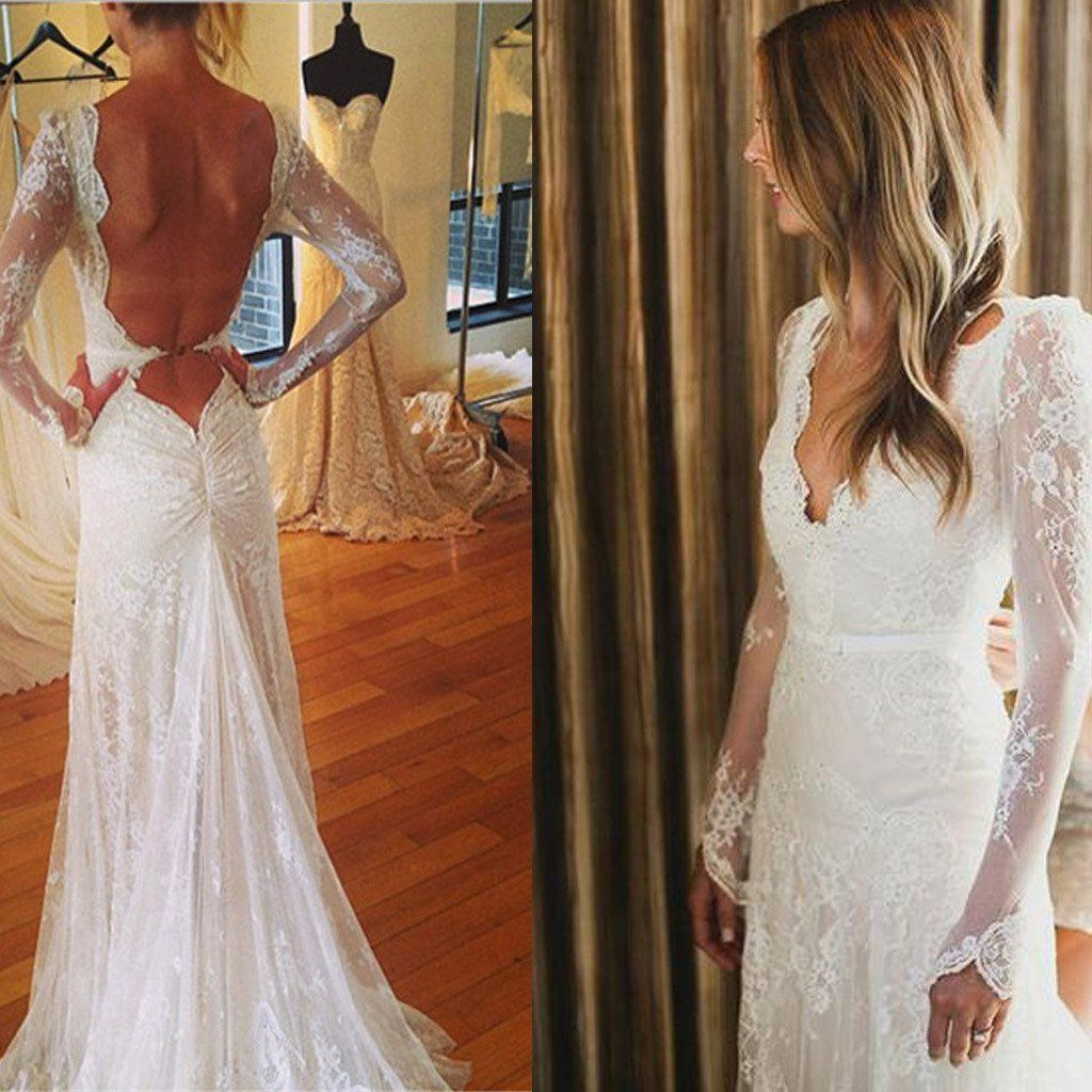 Sexy vneck open back mermaid long sleeve white lace tulle wedding