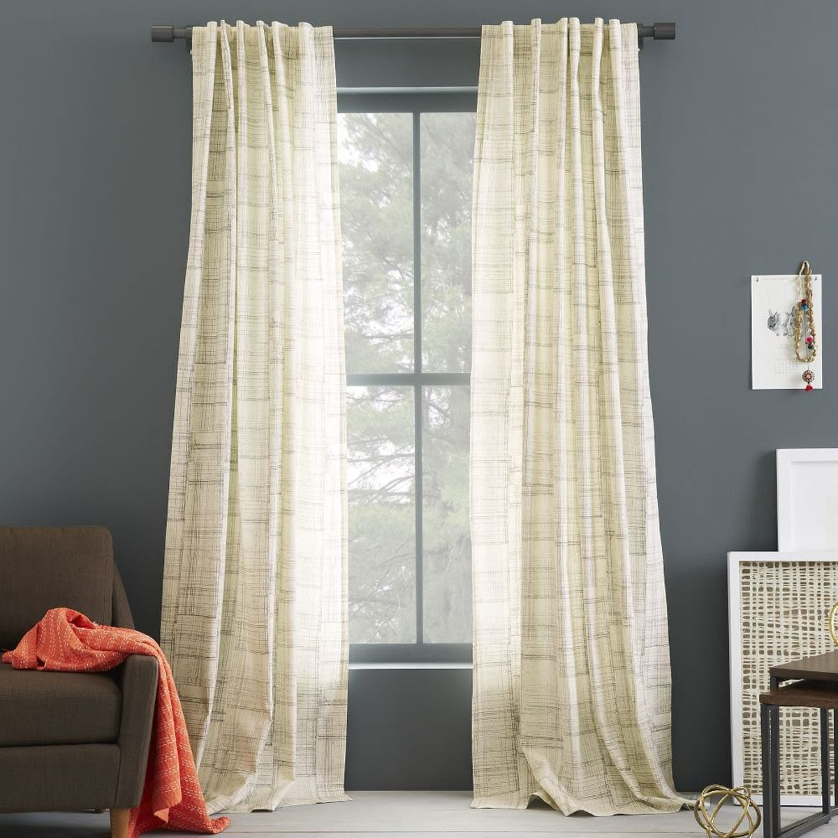 categories curtain itm check eyelet balmoral slate curtains ebay charcoal