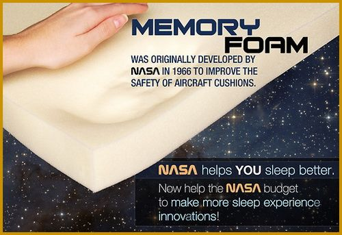 What Is Memory Foam? Designed originally for NASA aircraft seats, memory foam is made from a substance called viscoelastic. It is both high energy absorbent and extremely soft. Memory foam molds to your body in response to pressure. It allows even body weight distributing. It then returns to its original shape. Once the pressure is removed, the foam goes back to its complete original state.