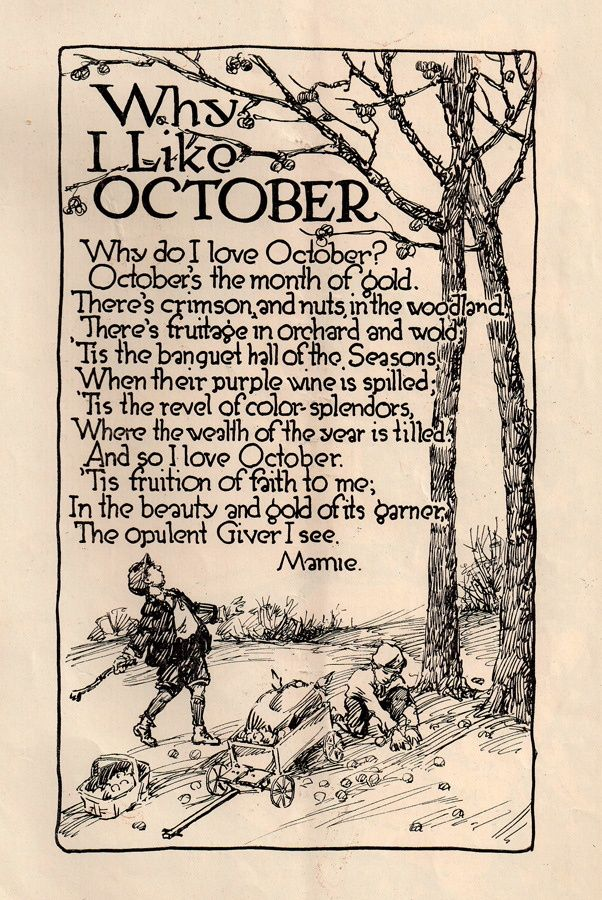 Why I Love October Fall, Autumn, Vintage, Old Fashioned, Poem, Poetry,  Halloween, Primitive
