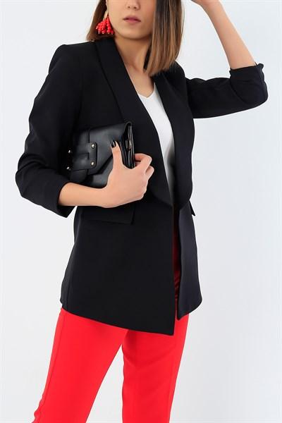 79 95 Tl Siyah Kolu Buzgulu Mendil Yaka Ceket 29946b Modamizbir 2020 Mankenler Siyah Giyim