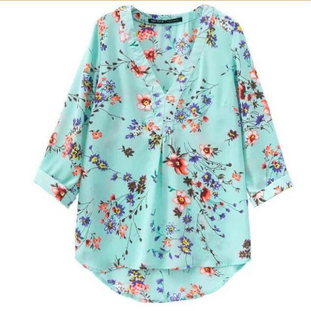0711561f413 New v-neck chiffon blouse women s 7 10 sleeve flower printed loose ...