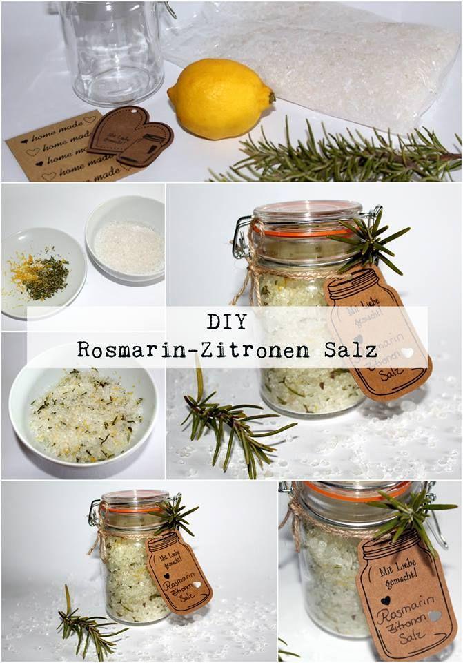 DIY Rosmarin- Zitronen Salz + Anleitung DIY, Basteln - geschenk aus der küche