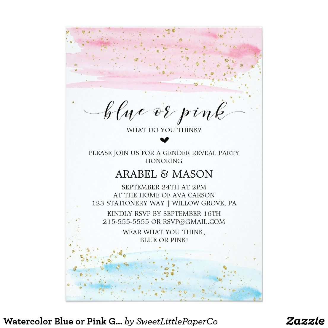 Watercolor Blue Or Pink Gender Reveal Party Invitation Zazzle
