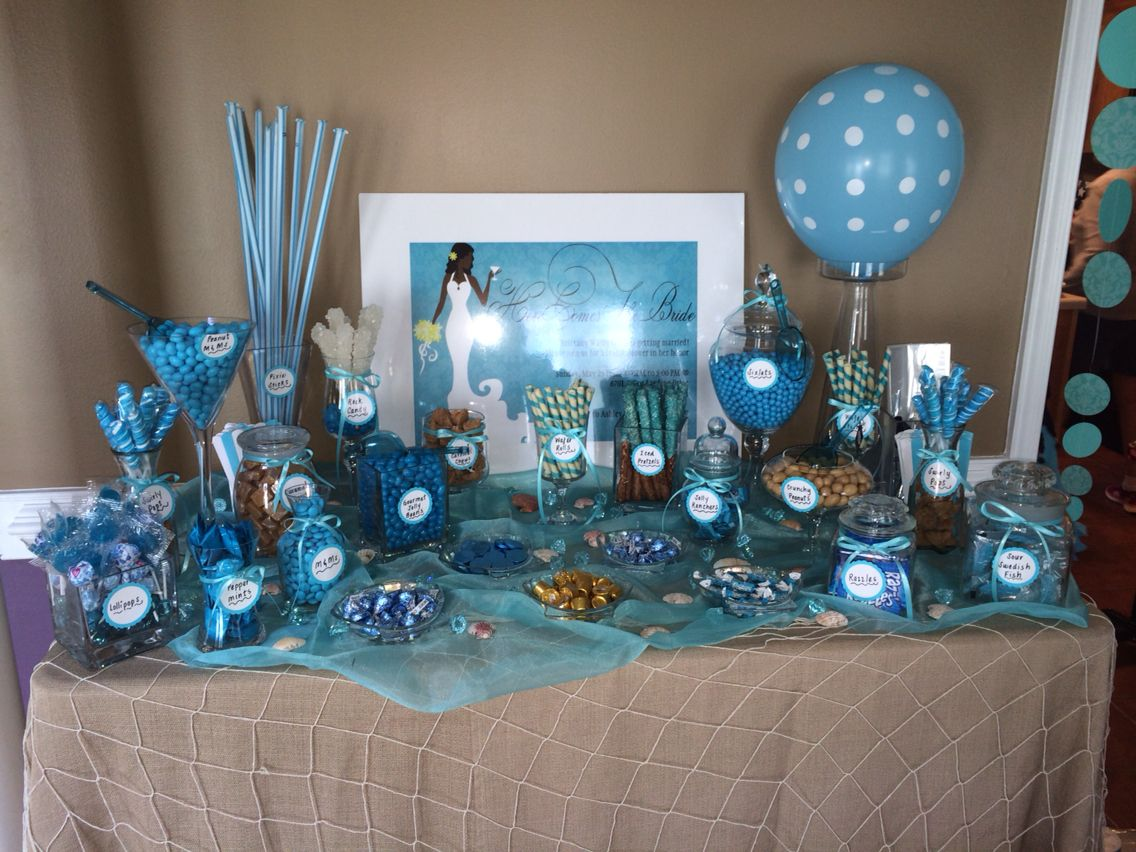 beach themed bridal shower candy table