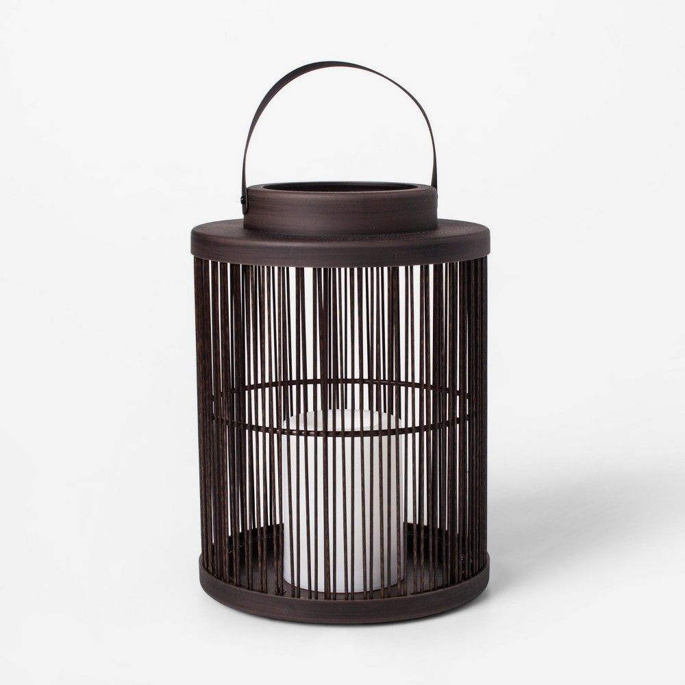 10 Vertical Weave Led Battery Operated Outdoor Woven Lantern With Led Candle Threshold Outdoor Lanterns Battery Lantern Led Candles