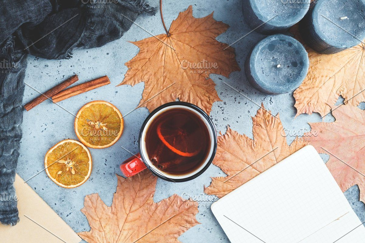 Photo of Autumn frame flat lay composition #Sponsored , #paid, #concrete#grey#background#…