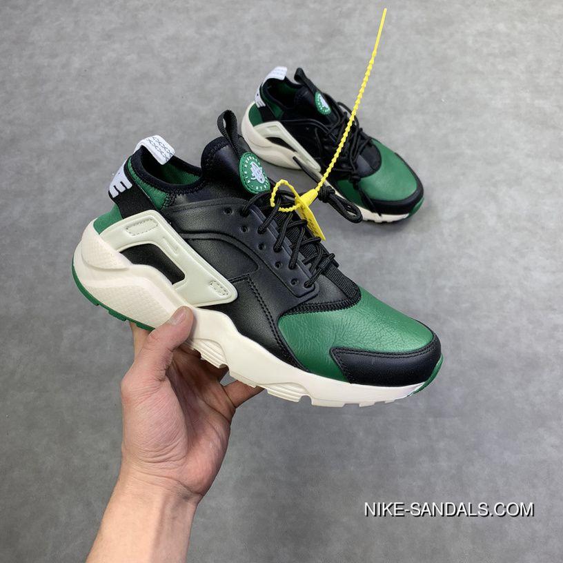 456772e6f65 Nike Air Huarache Run Premium New Colorways Black Green Full Grain Leather  4 Retro Jogging Shoes