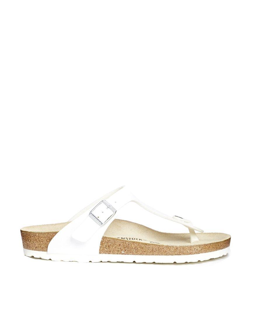b7a211f5d338 Birkenstock Gizeh White Flat Regular Fit Sandals