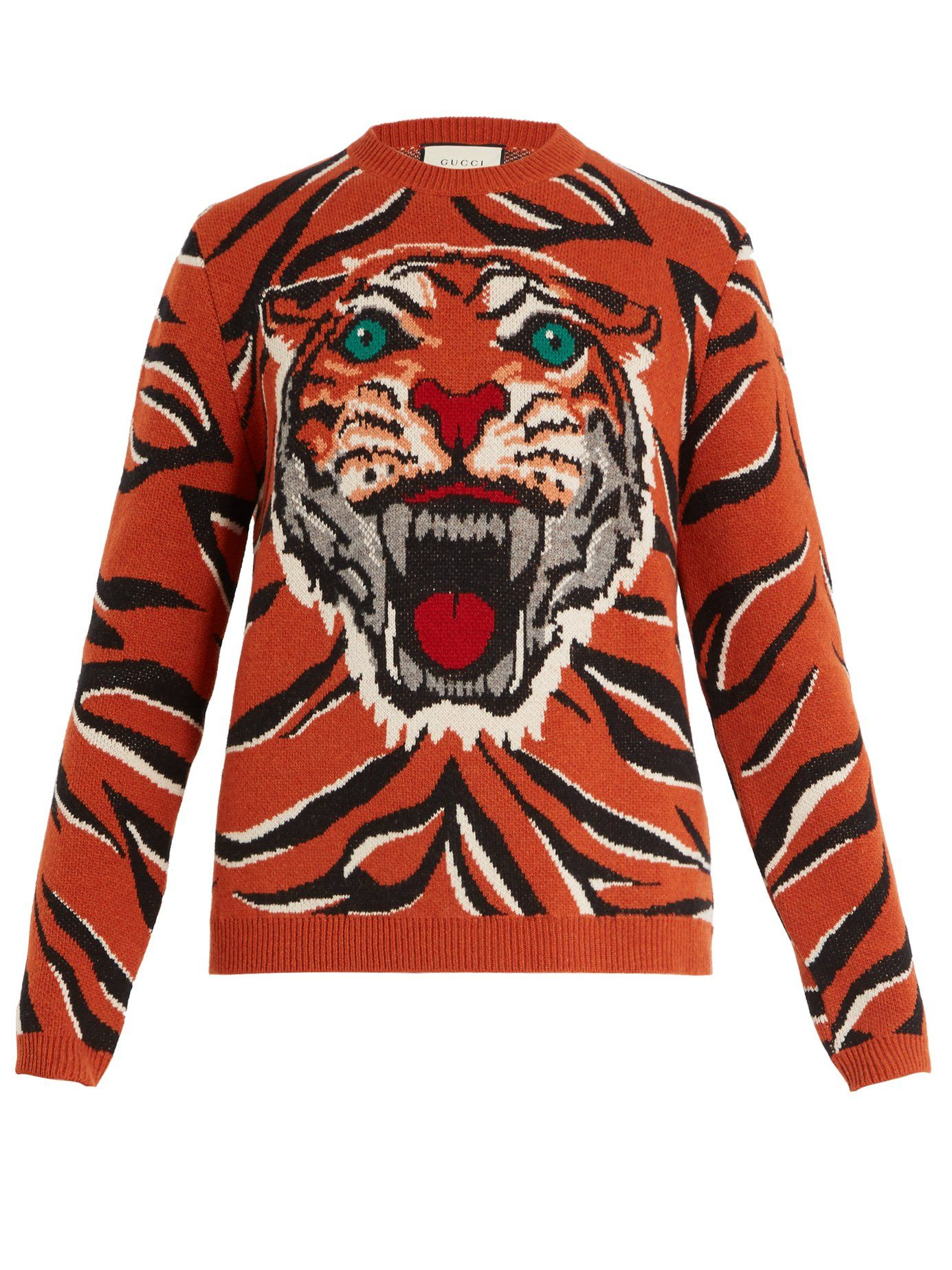 Tiger Intarsia Knit Wool Sweater Gucci Matchesfashion Com Mens Designer Sweaters Gucci Menswear Gucci Sweater [ 1847 x 1385 Pixel ]