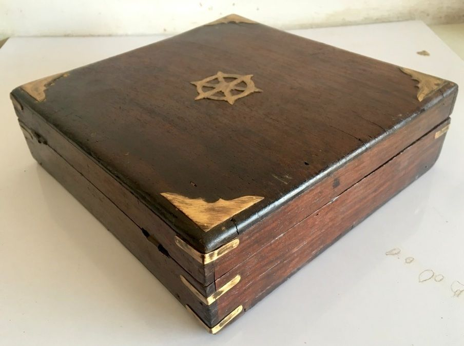 Vintage Old Teak Wood Brass Work Beautiful Jewelry Box ArtDeco