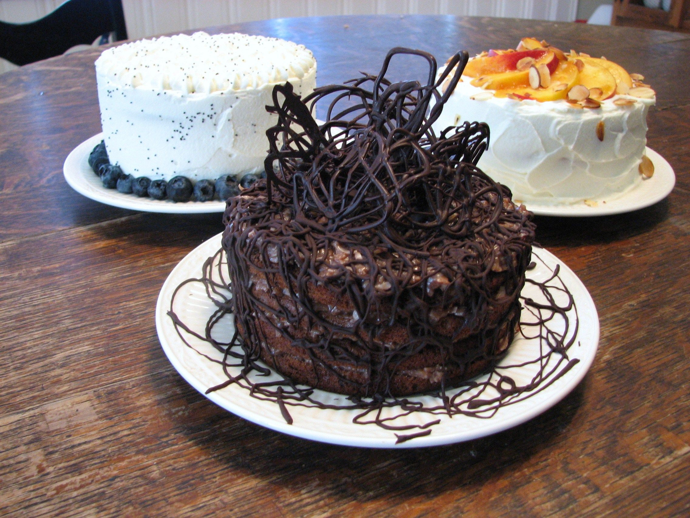 3 mini birthday cakes German Chocolate with chocolate drizzle