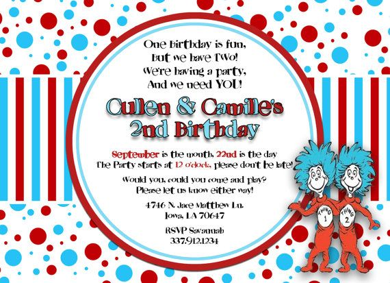 Thing 1 And 2 Dr Suess Custom Digital Birthday Party Invitation