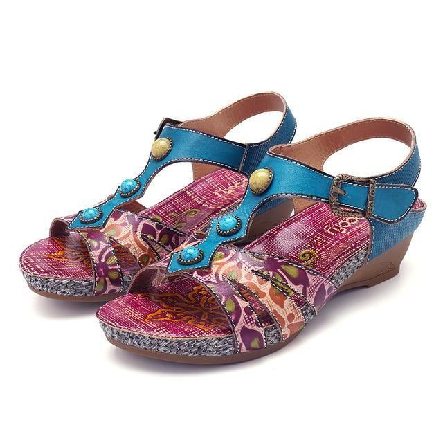 e6816ebba7b02 Socofy Retro Printed Bohemian Sandals Women Shoes Genuine Leather Hook Loop  Buckle Wedge Beach Sandals Summer