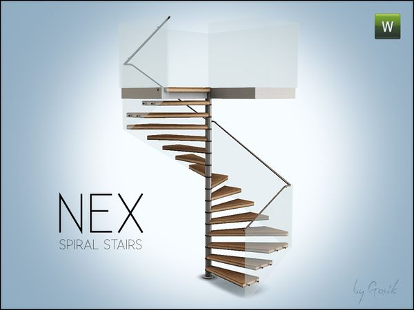 Nex square spiral stairs by gosik sims 3 downloads cc for Spiral staircase square