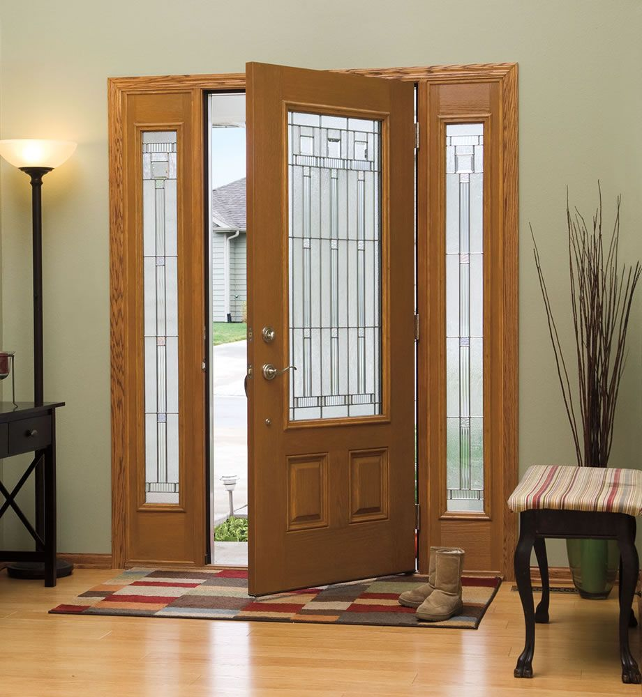 Entryway doors with sidelights entry doors with for Fiberglass entrance doors