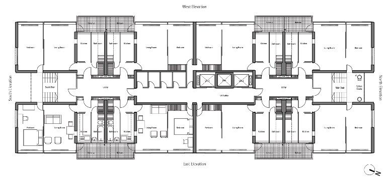 Typical floorplan of Great Arthur House
